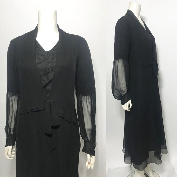 1920s dress in black chiffon, a late 20s day dress