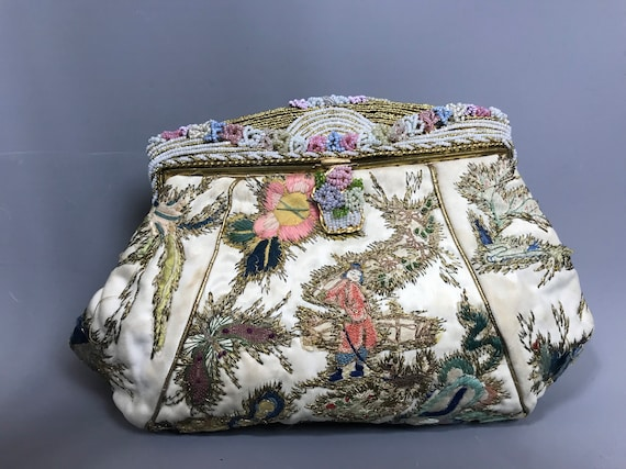 1930s chinoiserie evening bag with embroidered dra