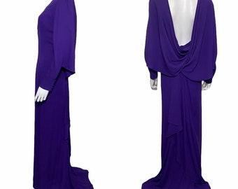 1990s erik mortensen for jean-louis Scherrer evening gown in purple silk crepe