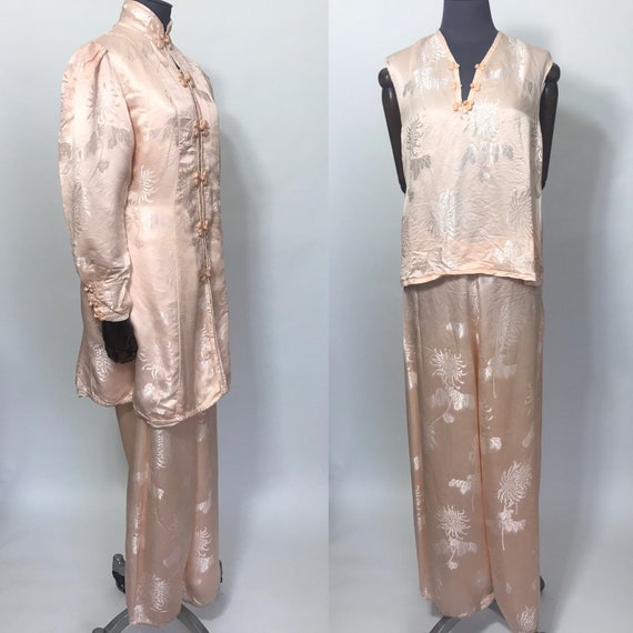 1930s silk lounge pyjamas and robe