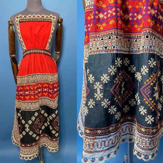 Antique Russian Towns costume apron, traditional d