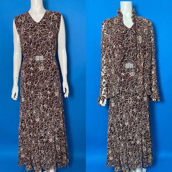 1930s lace evening dress, as is