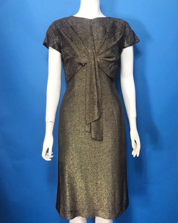 1950s lamé dress, gold lurex