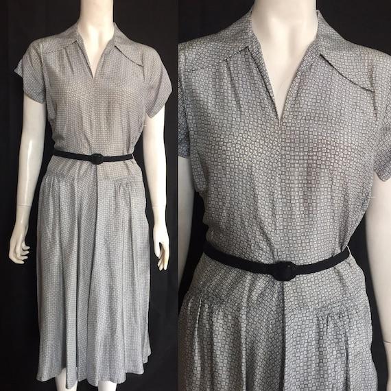 1940s silk day dress