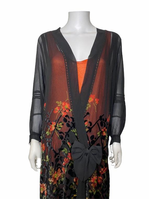 1920s devoré dress with orange underdress - image 4