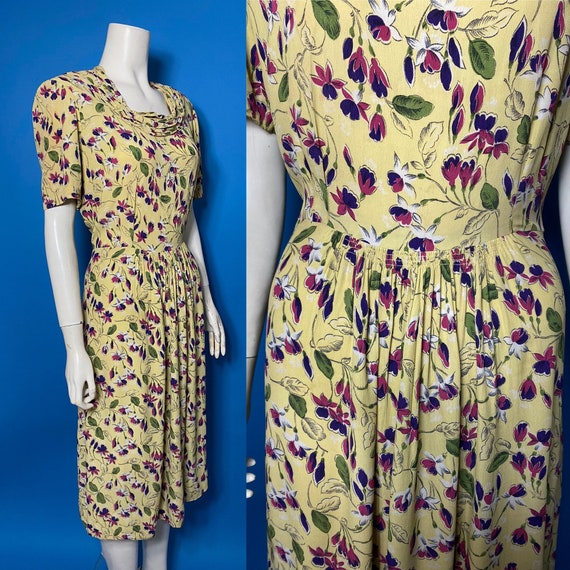 Volup 1940s tea dress, rayon crepe