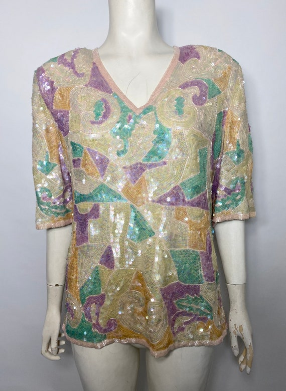 1980s Frank Usher blouse with sequins in pastel  c