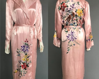 1930s embroidered robe/ embroodered dressing gown
