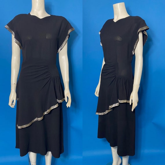 1940s peplum cocktail dress with sequins