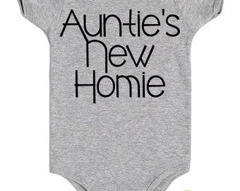Auntie's New Homie, Auntie one piece, Bodysuit, Auntie baby, niece, nephew, gift from Aunt, Aunt to be, New Aunt, Cool Aunt, Newborn
