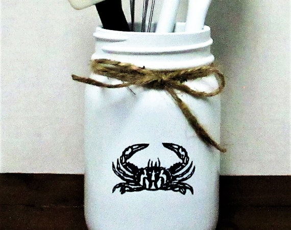Crab Mason Jar Kitchen Utensil Holder, Home Decor, Blue Crab, Beach Decor, Crab Lover Gift, Mason Jar Decor, Rustic Decor