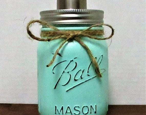 Mason Jar Soap Dispenser Mason Jar Lotion Dispenser, Bathroom Decor, Kitchen Decor, Rustic Decor, Farmhouse Decor, Mint Green Decor