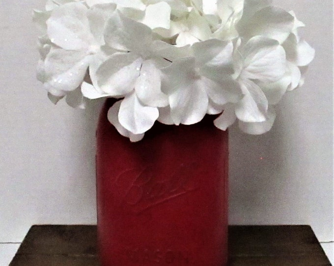 Red Mason Jar Centerpiece, Valentines Day Centerpiece, Floral Arrangement, Farmhouse  Decor, Country Chic, Shabby Chic, Valentine's Day Gift