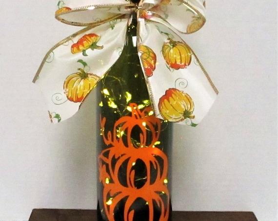 Pumpkin Lighted Bottle Lighted Bottle Fall