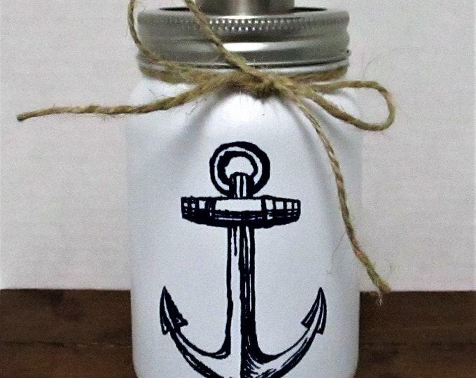 Anchor Mason Jar  Soap Dispenser, Anchor Decor, Mason Jar Lotion Dispenser, Bathroom Decor, Kitchen Decor, Anchor Decor, Beach Decor