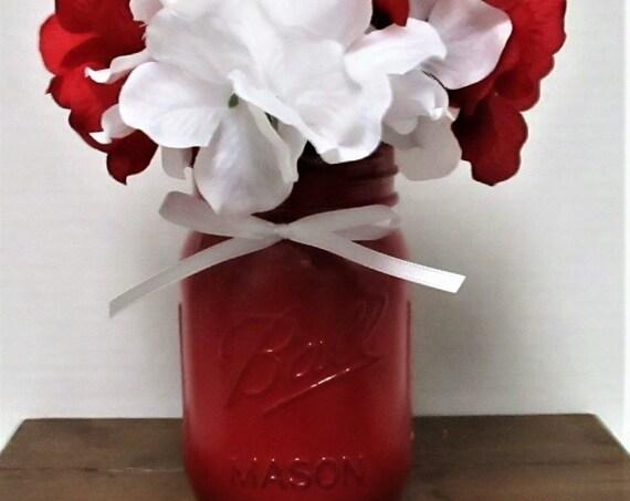 Mason Jar Flower Centerpiece, Mason Jar Decor, Valentines Day Flowers, Valentine's Day Decor, Country Chic Decor, Farmhouse Decor