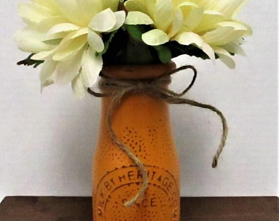 Milk Bottle Decor, Dairy Bottle Decor, Flower Vase, Milk Bottle, Centerpiece, Country Chic Decor, Farmhouse Decor, Mothers Day Gift
