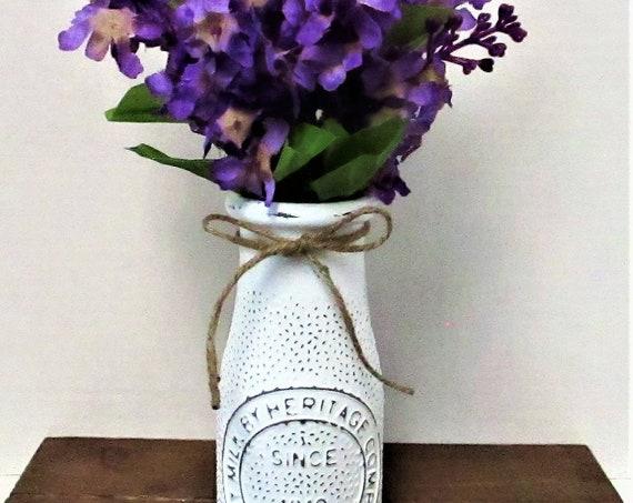 Dairy Bottle Decor, Purple Flowers, Milk Bottle, Centerpiece, Country Chic Decor, Farmhouse Decor, Spring Decor, Accent Flowers
