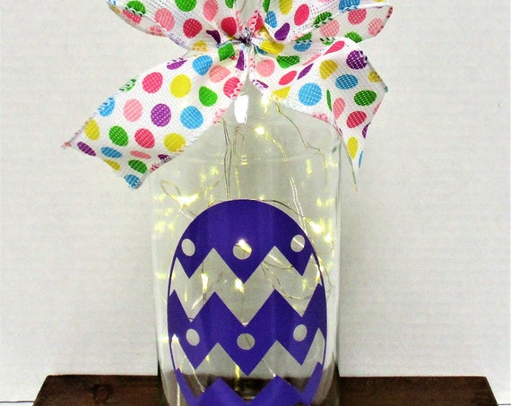 Easter Egg Lighted Bottle, Purple Easter Egg, Easter Decor, Lighted Bottle