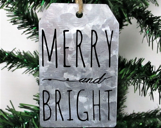Merry and Bright Christmas Ornament, Galvanized Christmas Ornament, Christmas Tag Ornament, Farmhouse Christmas Ornament