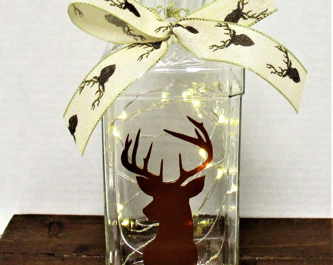 Deer Head Lighted Bottle, Bar Decor, Deer Head Decor, Table Light, Rustic Decor, Farmhouse Decor, Country Deer, Fathers Day