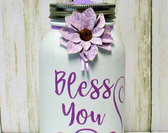 Bless You Mason Jar Tissue Holder, Kleenex  Holder, Shabby Chic Decor, Home Decor, Tissue Jar, Desk Decor, Bathroom Decor, Baby Shower Gift
