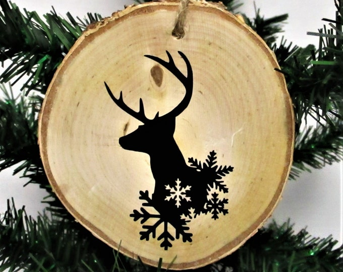 Deer Christmas Wood Slice Ornament, Country Christmas Ornament, Wood Decor, Rustic Christmas, Farmhouse Decor