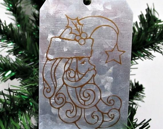 Santa Moon Christmas Ornament, Galvanized Christmas Ornament, Christmas Tag Ornament, Farmhouse Christmas Ornament