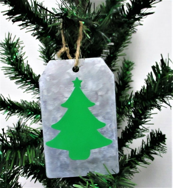 Christmas Tree Christmas Ornament, Galvanized Christmas Ornament, Christmas Tag Ornament, Farmhouse Christmas Ornament
