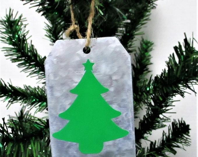 Christmas Tree Christmas Ornament, Galvanized Christmas Ornament, Christmas Tag Ornament, Farmhouse Christmas Ornament
