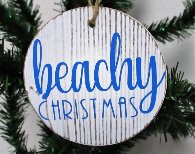 Beach Christmas Ornament, Beach Christmas Ornament, Beach Decor, Christmas Decor, Wood Ornaments