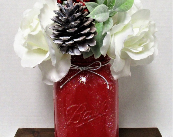 Red Glitter Winter Flower Christmas Centerpiece, Floral Arrangement, Shabby Chic Decor, Country Chic, Reindeer Decor, Christmas Flowers