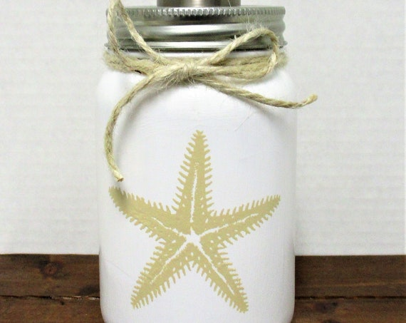 Soap Dispenser, Starfish Mason Jar Soap Dispenser, Mason Jar Lotion Dispenser, Bathroom Decor, Kitchen Decor, Starfish Decor, Beach Decor