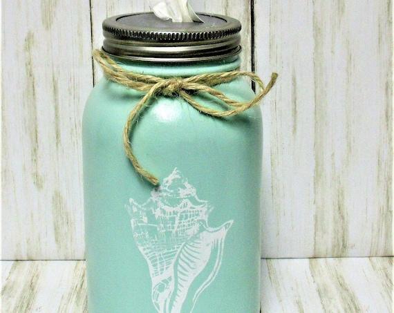 Shell Mason Jar Tissue Holder, Kleenex Holder, Beach Decor, Home Decor, Desk Decor, Bathroom Decor, Seahell