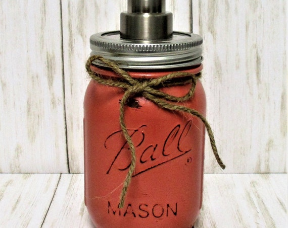 Mason Jar Soap Dispenser, Kitchen Decor, Bathroom Decor, Bathroom Set, Mason Jar Decor, Mason Jar Soap Pump, Dark Coral
