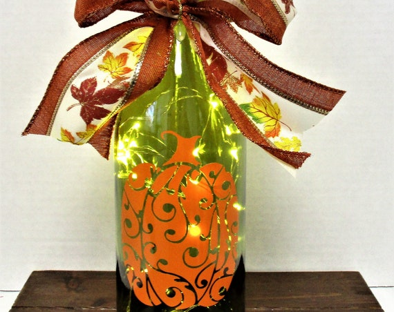 Pumpkin Lighted Bottle, Fall Decor, Thanksgiving Decor, Bar Decor, Table Light, Pumpkin Decor