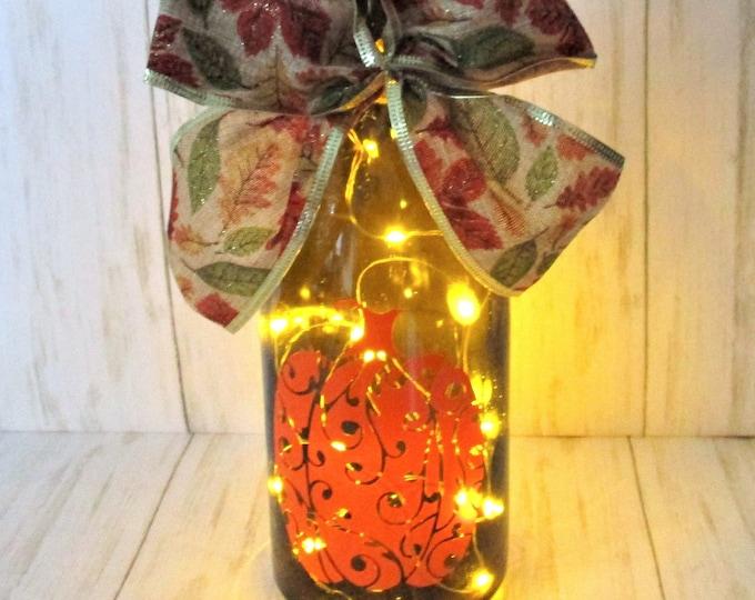 Pumpkin Lighted Bottle, Fall Decor, Thanksgiving Decor, Bar Decor, Table Light, Pumpkin Decor