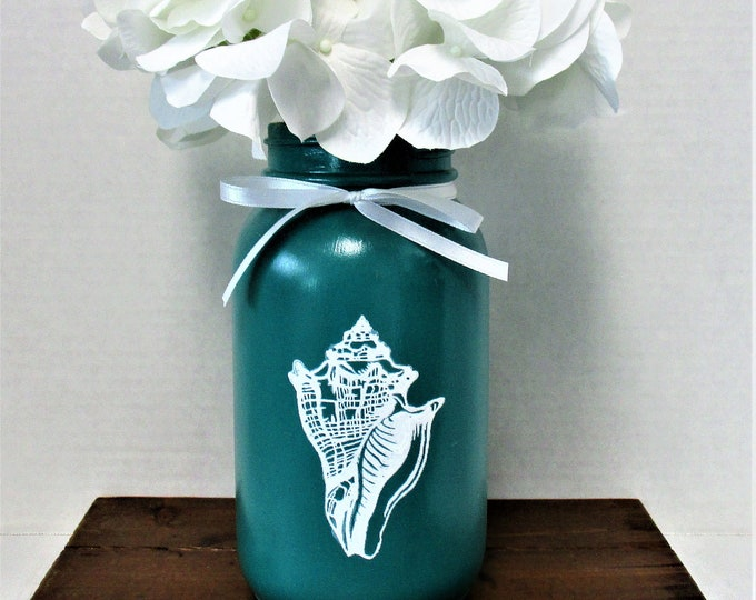 Seashell  Mason Jar Centerpiece, Flower Arrangement, Home Decor, Beach Decor, Mason Jar, Seashell Decor, Beach House Decor, Gift