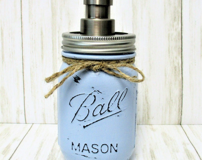 Mason Jar Soap Dispenser, Mason Jar Lotion Dispenser, Bathroom Decor, Kitchen Deco, Rustic Decor, Farmhouse Decor, Blue Mason Jar
