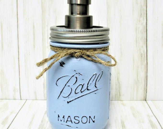 Mason Jar Soap Dispenser, Mason Jar Lotion Dispenser, Bathroom Decor, Kitchen Deco, Rustic Decor, Farmhouse Decor, Blue Mason Jar