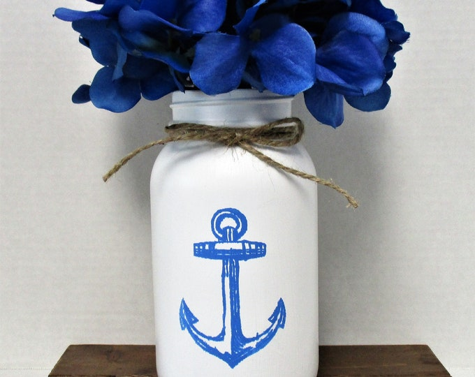 Anchor Mason Jar Centerpiece, Flower Arrangements, Home Decor, Beach Decor, Mason Jar, Anchor Decor, Beach House Decor, Mother's Day Gift