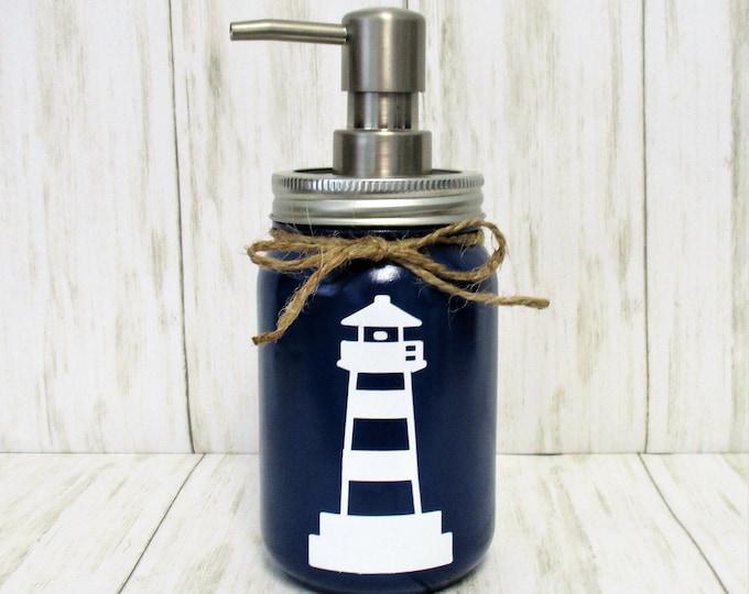 Lighthouse  Mason Jar  Soap Dispenser, Lighthouse Decor, Mason Jar Lotion Dispenser, Bathroom Decor, Kitchen Decor, Beach Decor