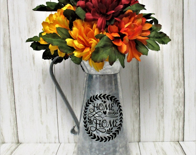 Galvanized Watering Can Centerpiece with Flowers, Home Sweet Home, Fall Decor, Farmhouse Decor, Rustic Decor, Home Decor, Farmhouse Decor