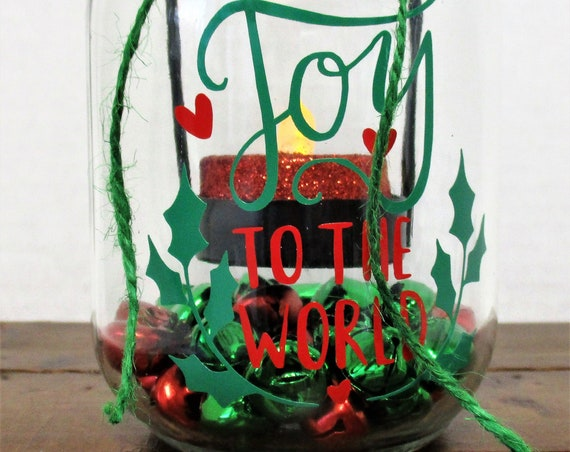 Christmas Mason Jar Tea Light Candle Decor, Joy to the World, Christmas Tealight Holder, Christmas Mason Jar Decor, Jingle Bells