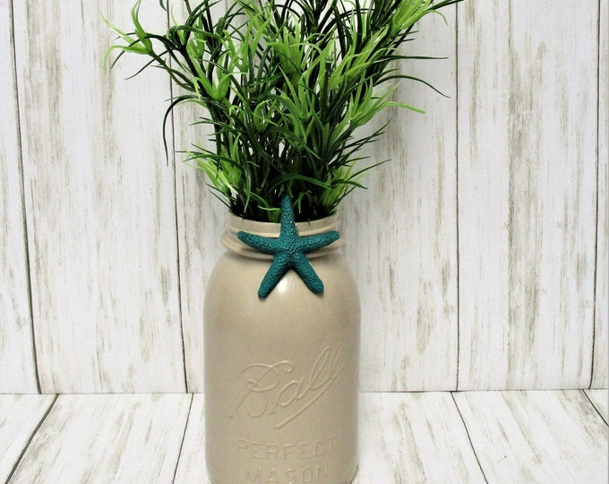 Starfish Mason Jar Centerpiece, Flower Arrangements, Home Decor, Beach Decor, Mason Jar, Starfish Decor, Beach House Decor, Housewarming