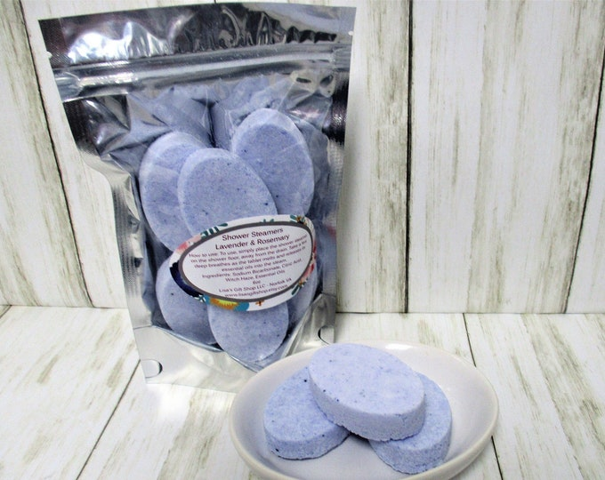 Aromatherapy Shower Steamers, Shower Bombs, Lavender, Rosemary, Spa Product, Shower Fizzy, Shower Melts, Mothers day gift