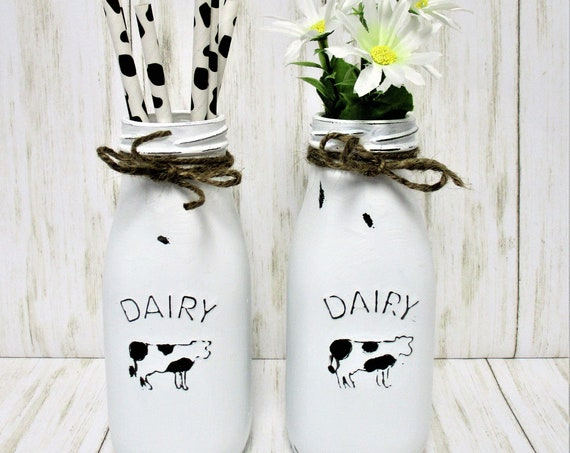 Cow Milk Dairy Bottles, Cow Decor, Farmhouse Decor, Country Decor, Barn Decor, Rustic Decor, Cow Decor