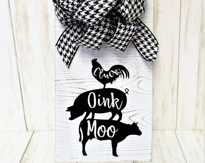 Farm Animal Wall Sign Decor, Farmhouse Decor, Cow Pig Chicken Sign, Country Decor, Wall Hanging