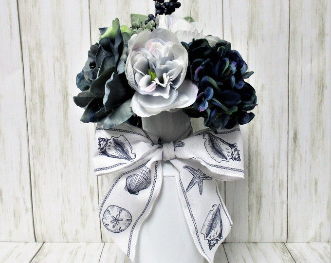 Home Decor Centerpiece, Beach House, Table Centerpiece, Flower Arrangement, Housewarming Gift, Home Decor, Beach Decor, Seashell Ribbon