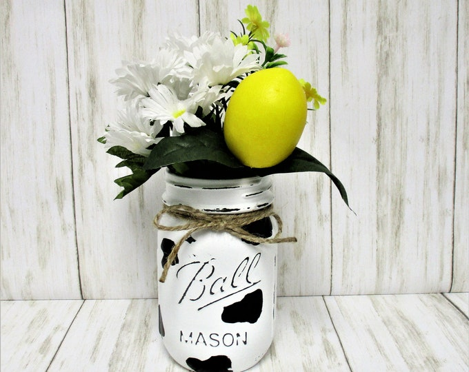 Cow Print Mason Jar Centerpiece, Cow Print Decor, Lemon Decor, Farmhouse Decor, Country Decor